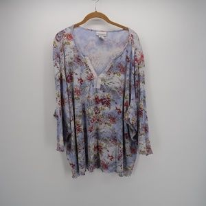 Avenue Floral Print V-Neck 3/4 Sleeve Blouse Top